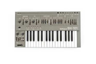2021/45/1 Keyboard instrument with modulation grip, power supply, carry bag and manual, Roland SH-101 monophonic synthesiser', plastics / rubber / metal / electronic components, Roland Corporation, Japan, 1982