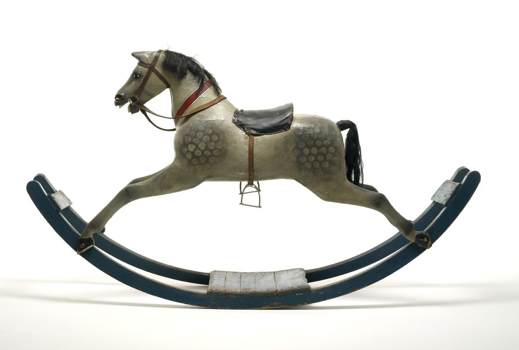 85/2060 Rocking horse, on bow rockers, dappled grey, painted timber, [English], late 19th century. Click to enlarge.