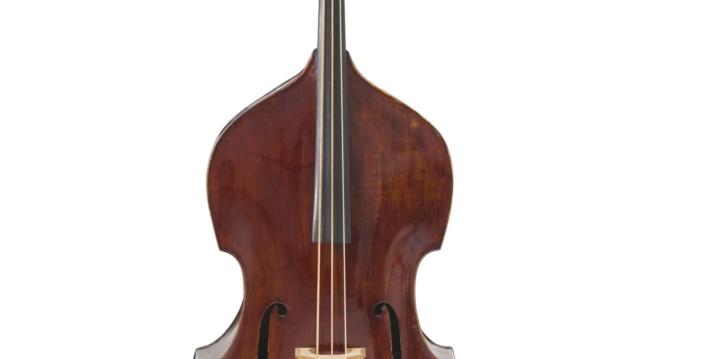 2007/97/1 Double bass, European Spruce / European Maple / Australian Cedar / metal, made by John Devereux, Melbourne, Victoria, Australia, [1856]. Click to enlarge.