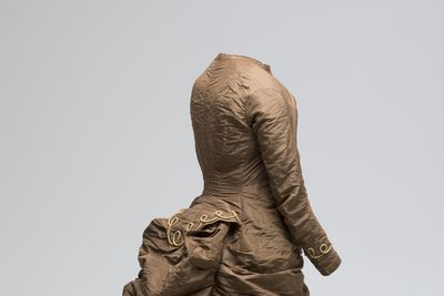 A10758 Dress, wedding, silk taffeta/ cotton, maker unknown, worn by Jane Anne Frazer (nee Churchill) at her wedding to John William Frazer in Taree in July 1881, probably made in Australia, 1880-1881