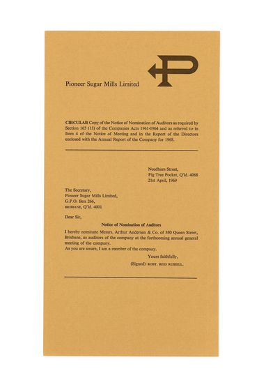 90/503-4/3 Report insert, 'Pioneer Sugar Mills Limited Annual Report 1968', notice of nomination of auditors, paper, designed by Alistair Morrison, Sydney, New South Wales, Australia, 1969