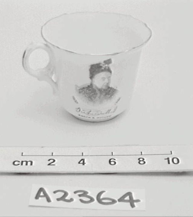 A2364 Cup and saucer, commemorating the Jubilee of Queen Victoria, Chapman, 1897, collected by Thomas Handcock Lennard. Click to enlarge.