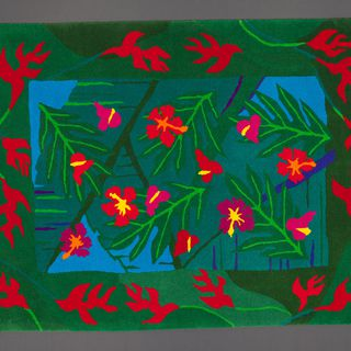 93/396/1 Rug, part of collection, 'Hibiscus and heleconia', wool / polyester backing, Linda Jackson / Designer Rugs, Sydney, New South Wales, Australia, 1993