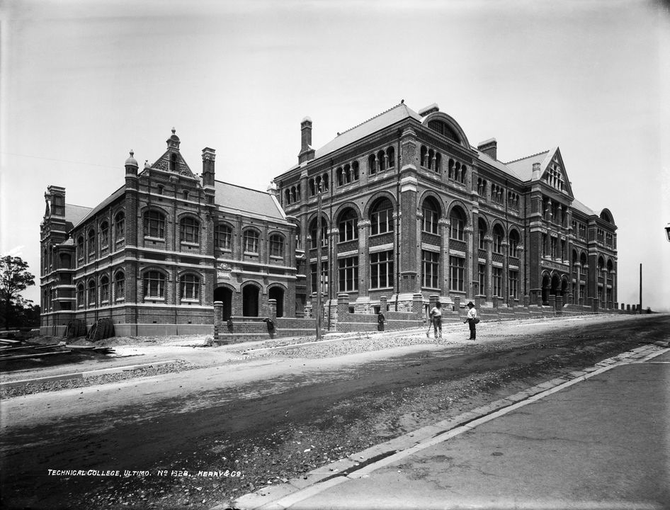85/1284-619 Glass plate negative, full plate, 'Technical College, Ultimo', Kerry and Co., Sydney, Australia, 1891-1892. Click to enlarge.