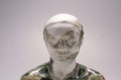 2000/28/1 Sculpture and box, 'China, China' series, Bust 28, porcelain body-cast, hand painted in overglaze enamels, Ah Xian (LIU Jixian), Jingdezhen, Jiangxi Province, China, 1999