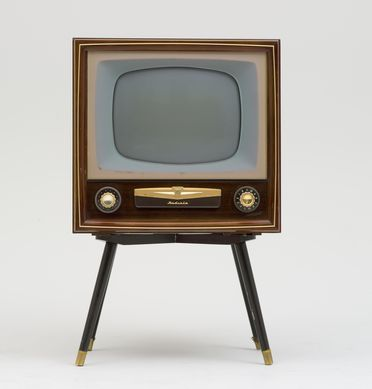B2015 Television receiver, 17' A.W.A. Radiola 'Deep Image', black and white, maple finish, cabinet on stand, manufactured by A.W.A, Australia, 1956