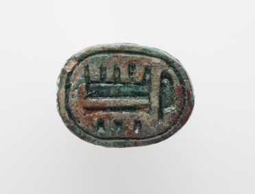 11106-2 Animal figure, scarab seal, turquoise faience, Egypt, date unknown