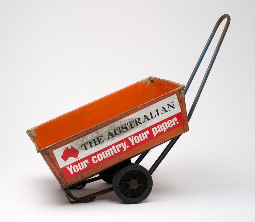 2005/90/1 Newspaper trolley, metal / rubber / paper, owned by White Bay newsagent, used by Beatrice Bush, White Bay, New South Wales, Australia, made by Kelso, Australia, [1985-1995]. Click to enlarge.