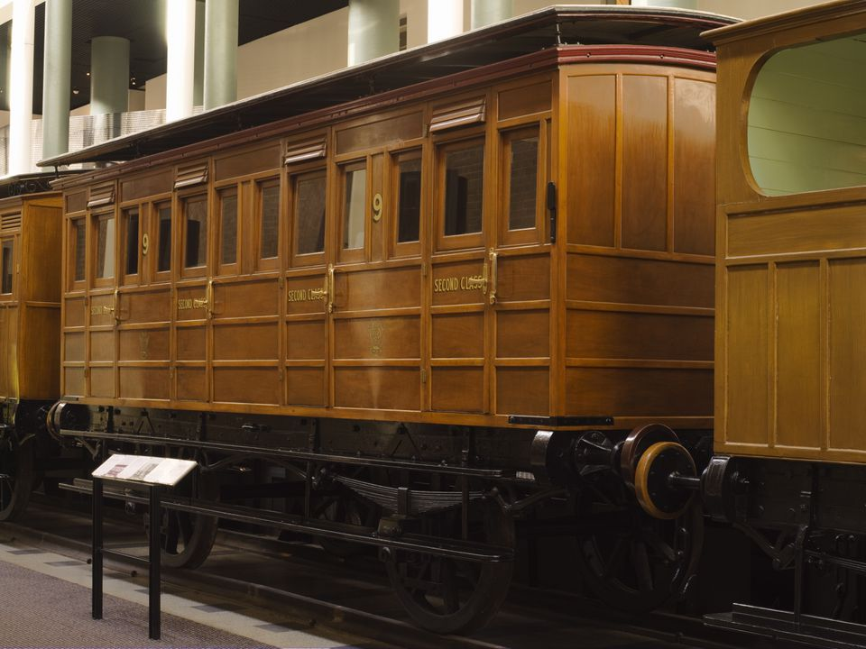 B1664 Railway carriage, second class, timber / iron, made by Joseph Wright & Sons of Saltley, Birmingham, England, 1854, used on the first railway in New South Wales between Sydney and Parramatta in 1855, restored by apprentices Wagon Works, Clyde Workshops, Sydney, New South Wales, Australia, 1965-. Click to enlarge.
