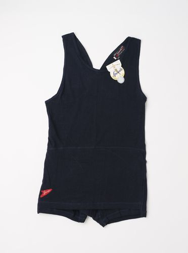 A9394 Swimsuit, 'Speedo', mens, navy blue one piece, cotton, Speedo Knitting Mills (Holdings) Ltd, Newtown, New South Wales, Australia, c. 1945