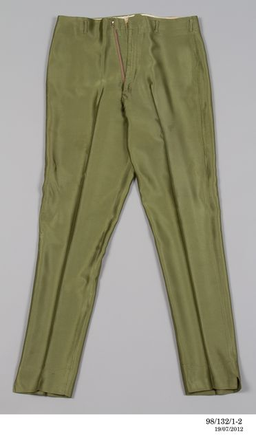 98/132/1-2 Trousers, part of performance costume, textile / plastic / metal, worn by Col Joye, designed and made by Andy Ellis Exclusive Mens Wear, Sydney, New South Wales, Australia, 1958-1961