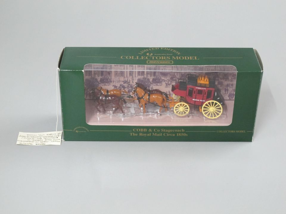 96/231/14 Model and packaging, Cobb & Co stagecoach with four horses, in original box, plastic / cardboard / metal, Australia Post / Matchbox Ltd, China, 1995. Click to enlarge.