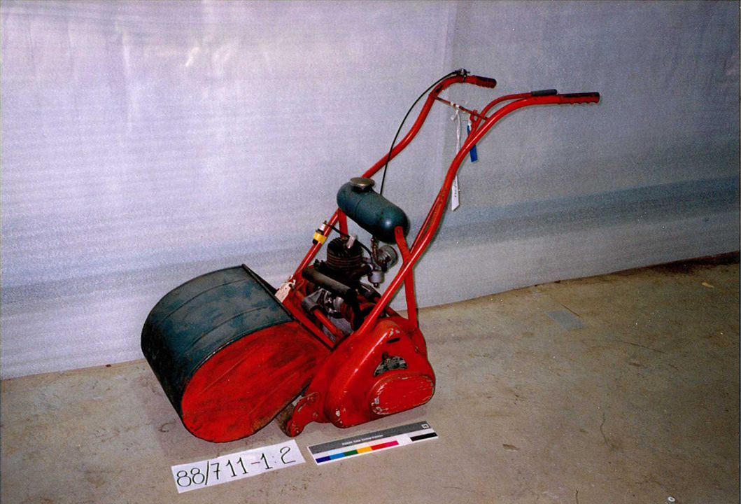 88/711 'Austral-Villiers' cylinder lawn mower, Model 2M14, serial No.449, motorised, steel/aluminum/wood, with a Villiers 98 cc 2 stroke engine, made by Condeco Pty Ltd, 909 High Street, Armadale, Victoria, Australia, 1955. Click to enlarge.