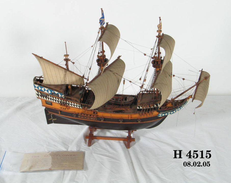 H4515 Ship model, the 'Mayflower' 1620 galleon, made by N Allen, Australia, [1940]. Click to enlarge.