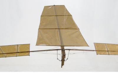 B111 Model flying machine, flapping wing 'Experiment C', paper / wood / metal / plastic / string, made by Lawrence Hargrave, Rushcutters Bay, New South Wales, Australia, 1887