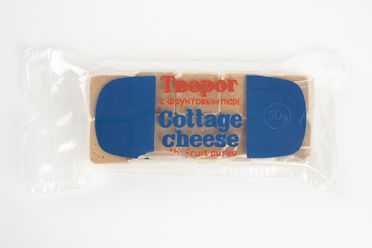 85/1053-2 Meal package, 'Cottage cheese with fruit puree', Soviet space missions, compressed cottage cheese / fruit / plastic, maker unknown, Union of Soviet Socialist Republics, c. 1984