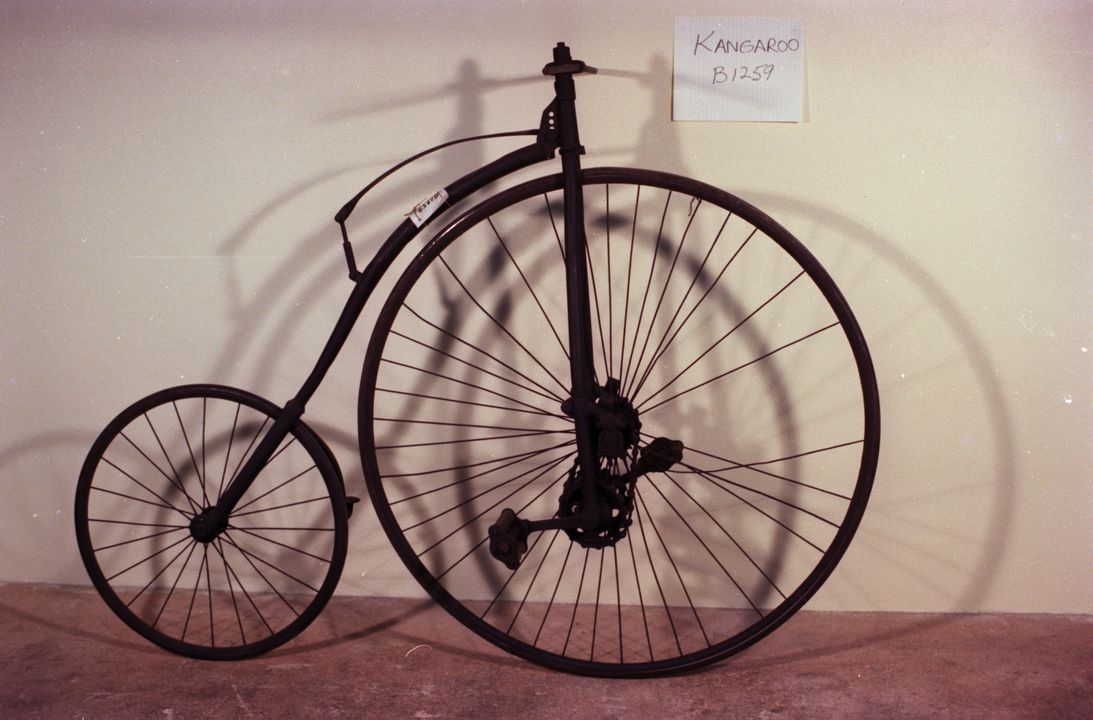 B1259 Bicycle, 'Kangaroo', dwarf safety type, No. 26838, rubber / nickel / steel, made by Hillman, Herbert & Cooper, Premier Bicycle Works, Coventry, England, 1884-1887. Click to enlarge.