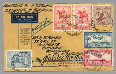 85/112-9 Philatelic cover, Jubilee air mail Australia to New Zealand, from Brisbane, paper, maker unknown, Australia, 1935