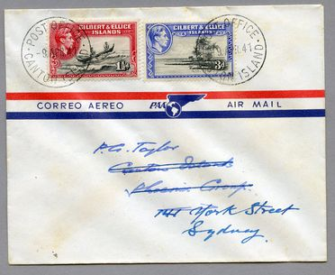 85/112-20 Philatelic cover, Canton Island to Australia, paper, made for PAA (Pan Am), place unknown, 1941