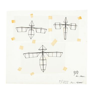 92/194-812 Sketches (3), mounted on card, based on Lawrence Hargrave's flying machine models, ink on tracing paper / adhesive tape / cardboard, illustrated by Gordon Andrews and used as a design reference for the Australian twenty dollar banknote designed by Gordon Andrews, Sydney, New South Wales,