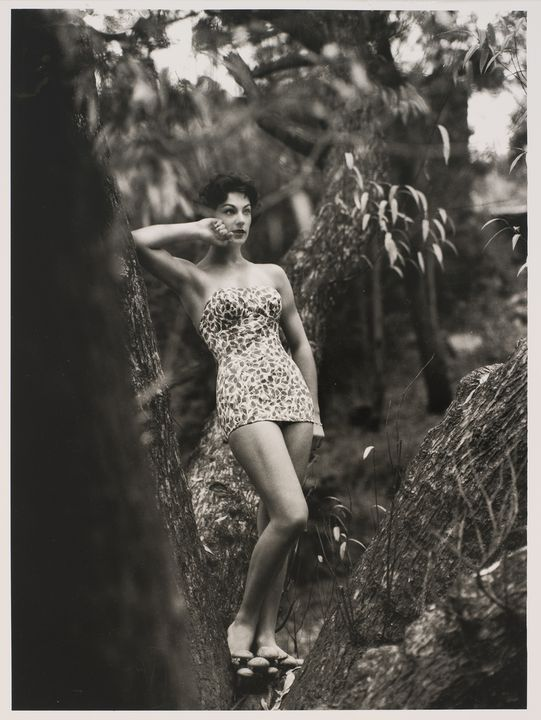 2009/43/1-1/10 Photographic print, black and white, model Francine Brown wears Sutex swimsuit, location Kew Boulevard, photograph by Bruno Benini, Melbourne, Victoria, Australia, 1957. Click to enlarge.