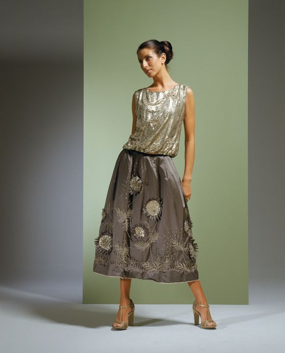 2001/29/1 Outfit, womens, skirt and top, silk taffeta / metal sequins / metallic embroidery, designed and made by Pamela Easton and Lydia Pearson for their label, Easton Pearson Pty Ltd, Brisbane, Queensland, Australia, beading and embroidery made in Mumbai, India, 2000. Click to enlarge.