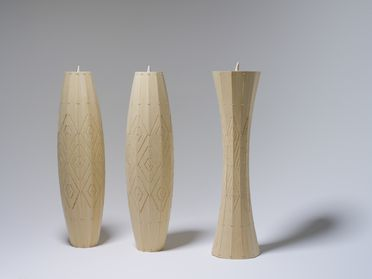 2009/99/1 Pendant light shades (3), 'Taniko Light', bamboo / plastic, designed and made by David Trubridge, New Zealand, 2009