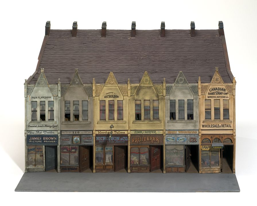 90/586-4 Architectural model, various shopfronts, part of King Street Sydney streetscape, 1870-1890, plywood / cardboard / plastic, Australian Broadcasting Commission, Sydney, Australia, 1970-1975. Click to enlarge.