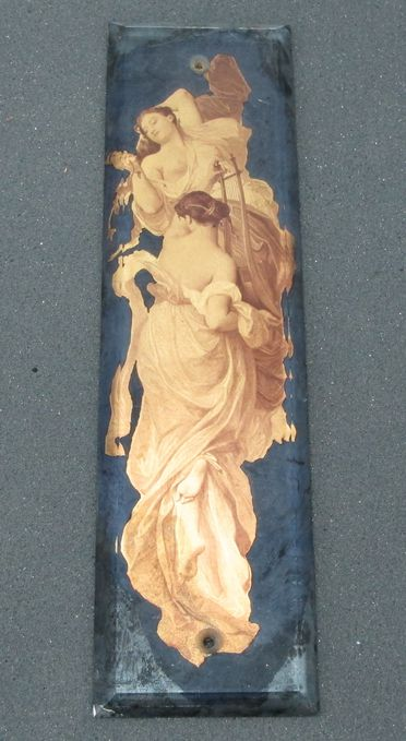 86/19-2 Finger plate for door, glass / metallic transfer prints, depicting two females, possibly made in France, 1900-1910