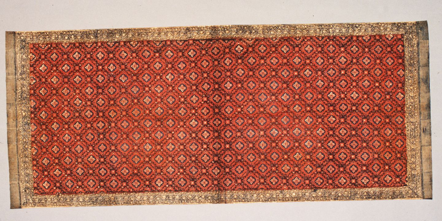 Textile Kain Batik Blue Red Brown Stamped Drawn Jambi East Sumatra Indonesia Early 20th Century Of