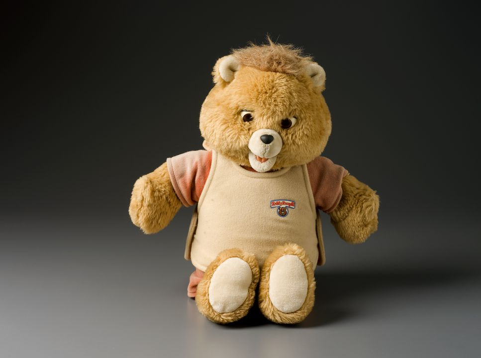 2011/70/1 Teddy bear, 'Teddy Ruxpin', mixed materials, Worlds of Wonder Co, Fremont, California, United States of America, 1985-1988. Click to enlarge.