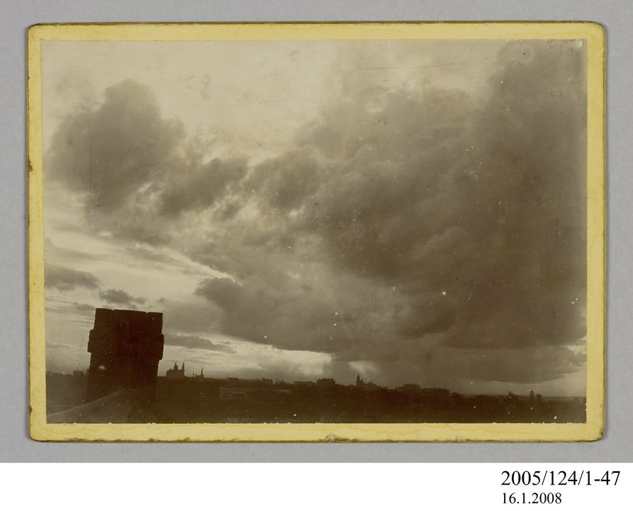 2005/124/1-47 Photograph, part of collection owned by James Short, black and white, clouds over city, mounted, card / paper, photographer unknown, Sydney, New South Wales, Australia, 1890-1922. Click to enlarge.
