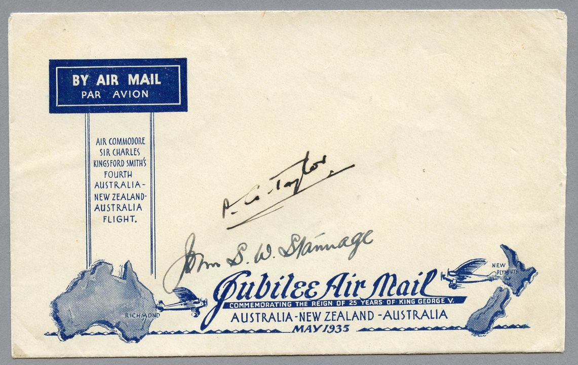 85/112-12 Envelope, Jubilee air mail Australia to New Zealand, unused, signed, paper, maker unknown, Australia, 1935. Click to enlarge.
