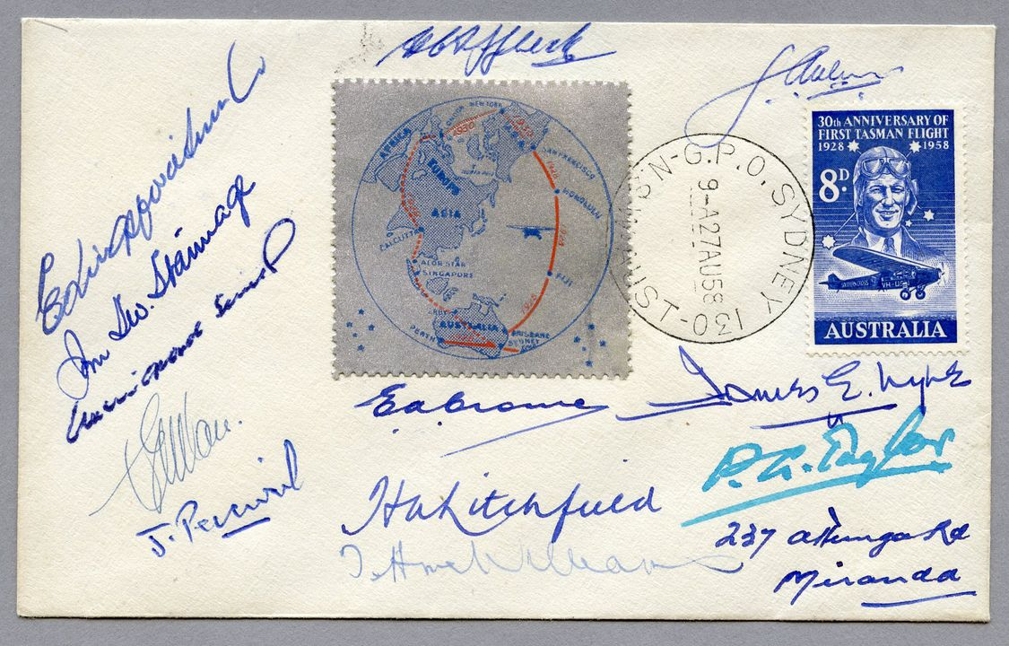 85/112-2 Philatelic cover, 30th anniversary of Kingsford Smith flight, signed, paper, stamp designed by James E Lyle, 1958. Click to enlarge.