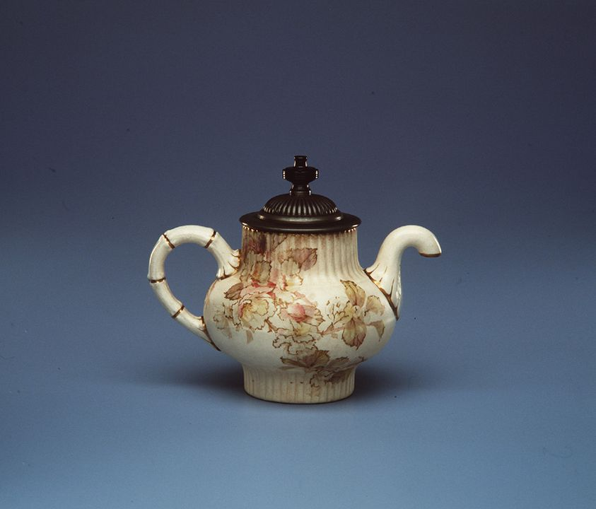 A2778-804 Teapot, Royle's Patent Self Pouring, earthenware / metal, hand coloured, transfer printed Australian wildflower design, decorated by J Walklate after design by Louis Bilton, made by Doulton & Co, Burslem, England, c1892. Click to enlarge.