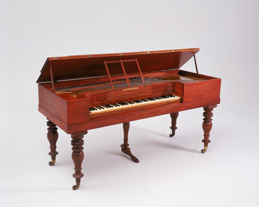 2002/70/1 Square piano, timber / metal / fabric, made for Francis Ellard of Sydney by [Collard & Collard], London, England, 1835-1838. Click to enlarge.