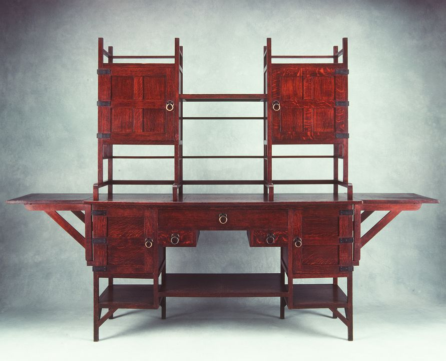 91/81 Sideboard, oak with metal mounts, designed by Edward William Godwin, made by William Watt, England, 1867-1880. Click to enlarge.