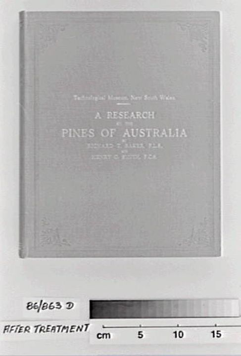 "86/863D Book, ""A Research on the Pines of Australia"", R.T. Baker & H.G. Smith, Sydney, Government Printer, 1910 (Technical Education Series no. 16). Click to enlarge."