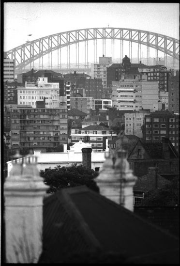 96/44/1-5/4/12/2 Negative, black and white, view of Sydney Harbour Bridge, for the book 'Sydney, A Book of Photographs', 35mm acetate film, David Mist, Sydney, New South Wales, Australia, 1969
