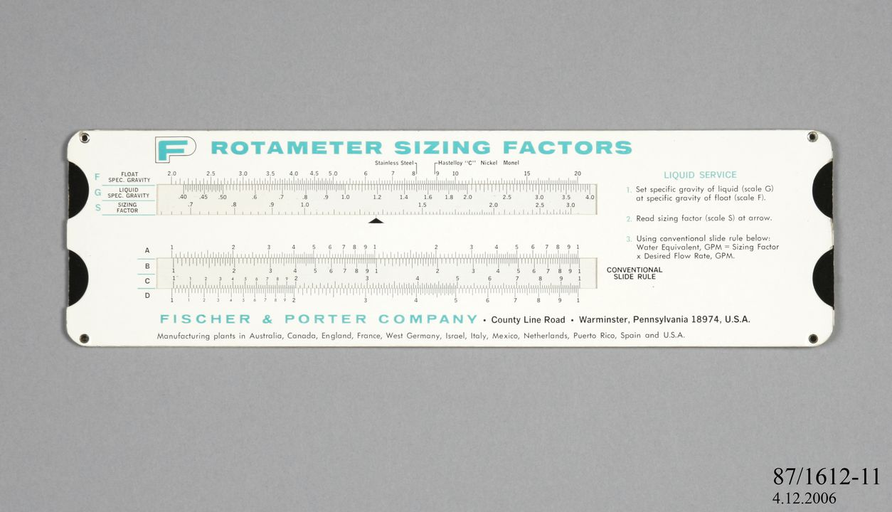 87/1612-11 Sizing factor slide rule, 'Rotameter', cardboard, made by Fisher & Porter Co, Pennsylvania, United States of America, 1968. Click to enlarge.