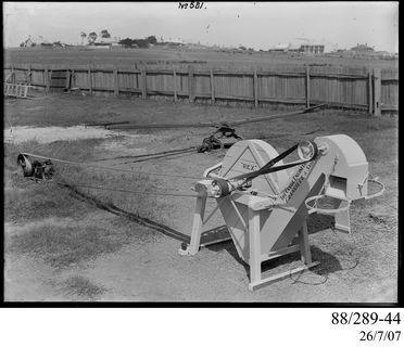 88/289-44 Photographic glass plate negative, 'Rex' chaff cutter with double bagging mechanism belted to two-horse horse works, made by The Clyde Engineering Pty Ltd, Granville, New South Wales, Australia, 1910-1936