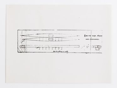 P2903-9/138 Photographic print, black and white, drawing of shoes for walking on water, paper, drawn by Lawrence Hargrave in 1870, copy print photographed c. 1965