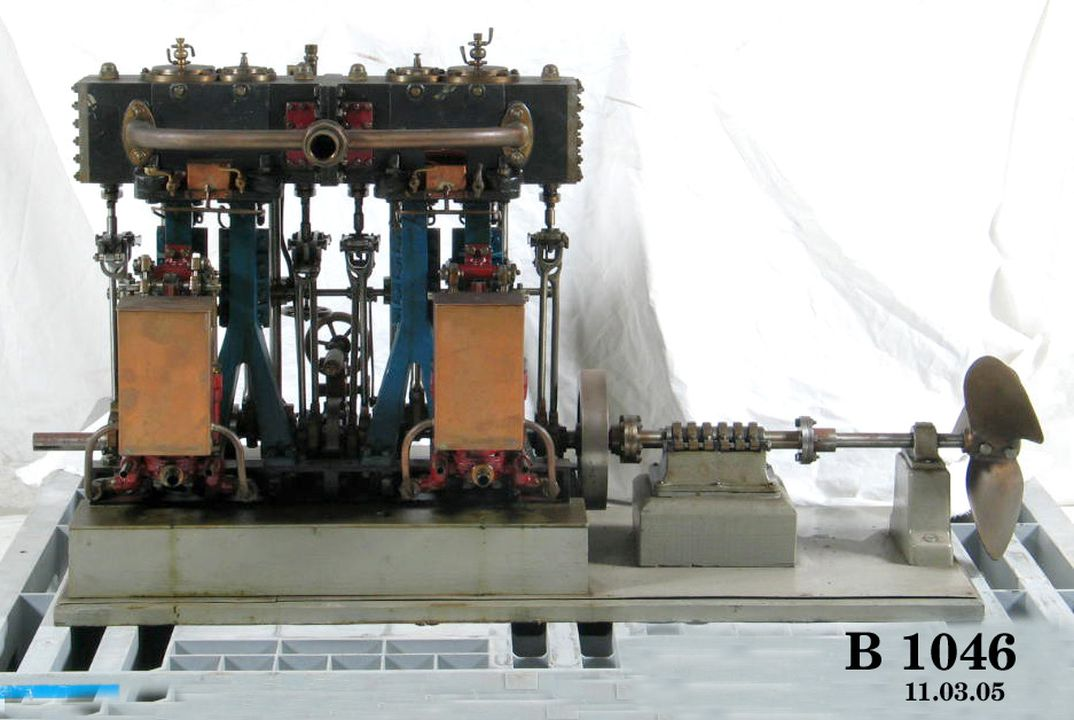 B1046 Model marine screw engine, twin compound, with thrust block and propeller, [Australia or UK]; A A Stewart Collection (OF).. Click to enlarge.