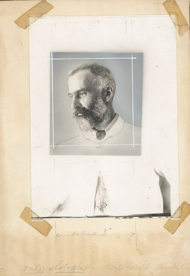 P2903-1/14 Photographic print, black and white, mounted, portrait of Lawrence Hargrave