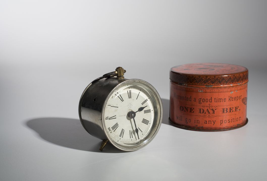 H5331 Clock, in container, 'One Day Bee', metal / glass, made by Ansonia Clock Company, Brooklyn, New York, United States of America, 1910. Click to enlarge.