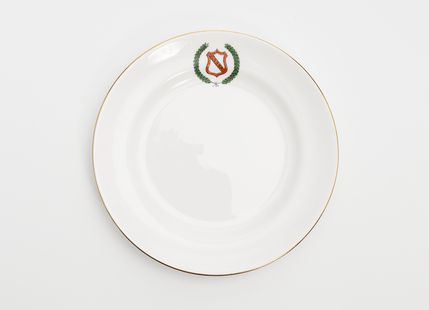 85/2473-17 Side plate, part of set, bone china, made for Girls Secondary Schools Sport Association, Australia, by Tuscan China, England, 1926-1965