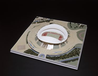 97/123/1 Model, architectural, Sydney Olympic Stadium, designed and made by Philip Cox Richardson Taylor in association with Peddle Thorp Connell Wagner, for the Sydney Olympics 2000 Bid Ltd, Sydney, New South Wales, Australia, 1992