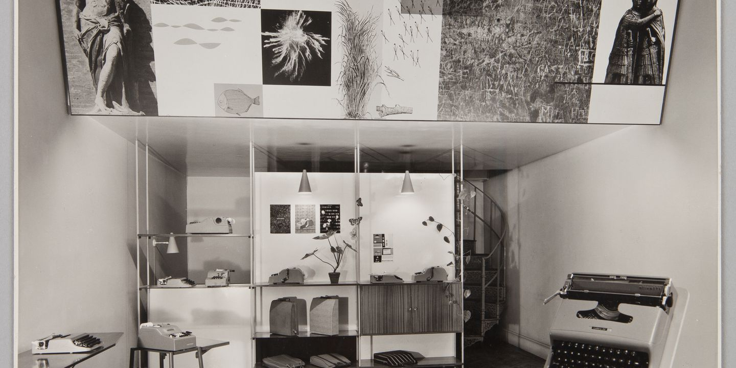 89/735-20/2 Photographic print, black and white, of Olivetti showroom designed by Gordon Andrews, Kingsway, London, photographed by Alfred Cracknell, London, early 1950s. Click to enlarge.