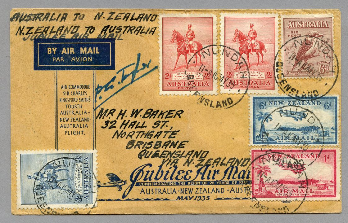 85/112-9 Philatelic cover, Jubilee air mail Australia to New Zealand, from Brisbane, paper, maker unknown, Australia, 1935. Click to enlarge.