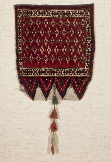 2015/26/80 Bag for tent struts (ok bash), symmetrically knotted pile, wool, made by Yomut Turkmen women, Turkmenistan or eastern Iran, mid 1800s